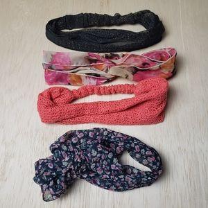 Bundle of 4 Soft Headbands - Knot/Floral/Eyelet